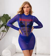 Figurbetontes Kleid mit Stehkragen, Augen & Buchstaben Grafik, Netzstoff ohne BH