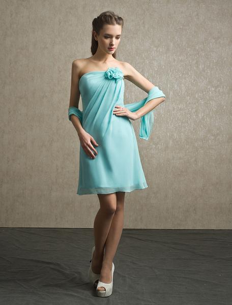 Milanoo Flower Chiffon A-line Strapless Bridesmaid Dress with Elegant Knee-Length Skirt