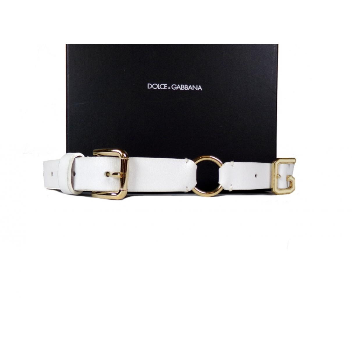 Dolce & Gabbana - Ceinture   pour femme en cuir - blanc