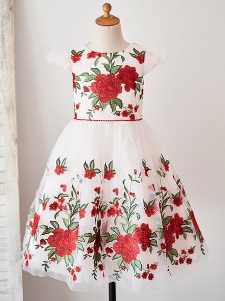 Milanoo Flower Girl Dresses Jewel Neck Short Sleeves Embroidered Kids Social Party Dresses