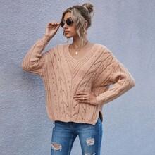 Cable Knit Split Hem Sweater
