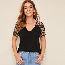 Leopard Print Raglan Sleeve Tee
