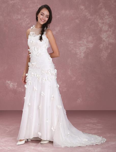 Milanoo Marfil vestido de novia con escote transparente y flor