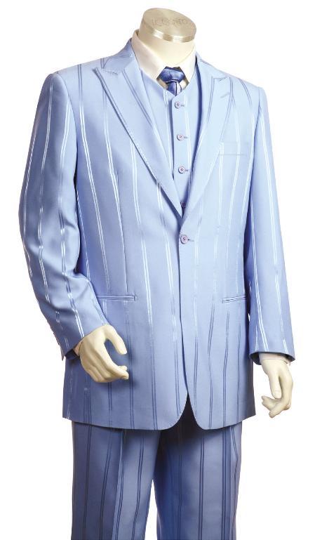 3 Piece 1 Button Lavander Vested Zoot Suit Mens