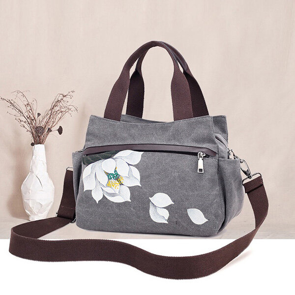 Canvas Tote Handbags Chinese Style Front Pockets Shoulder Crossbody Bags