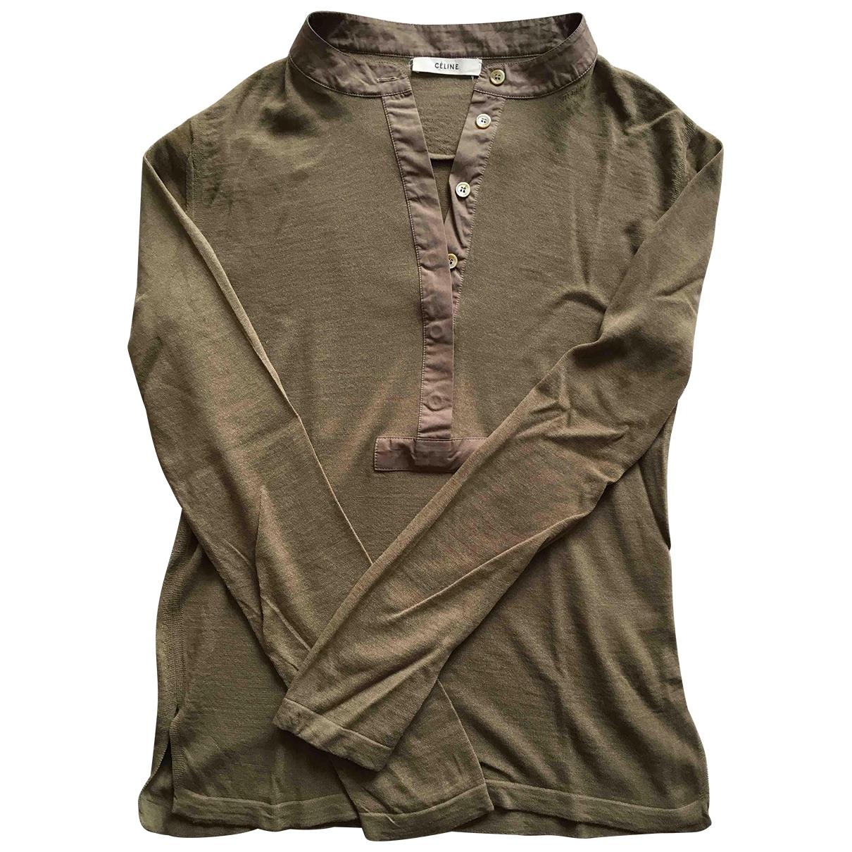 Celine - Top   pour femme en laine - kaki