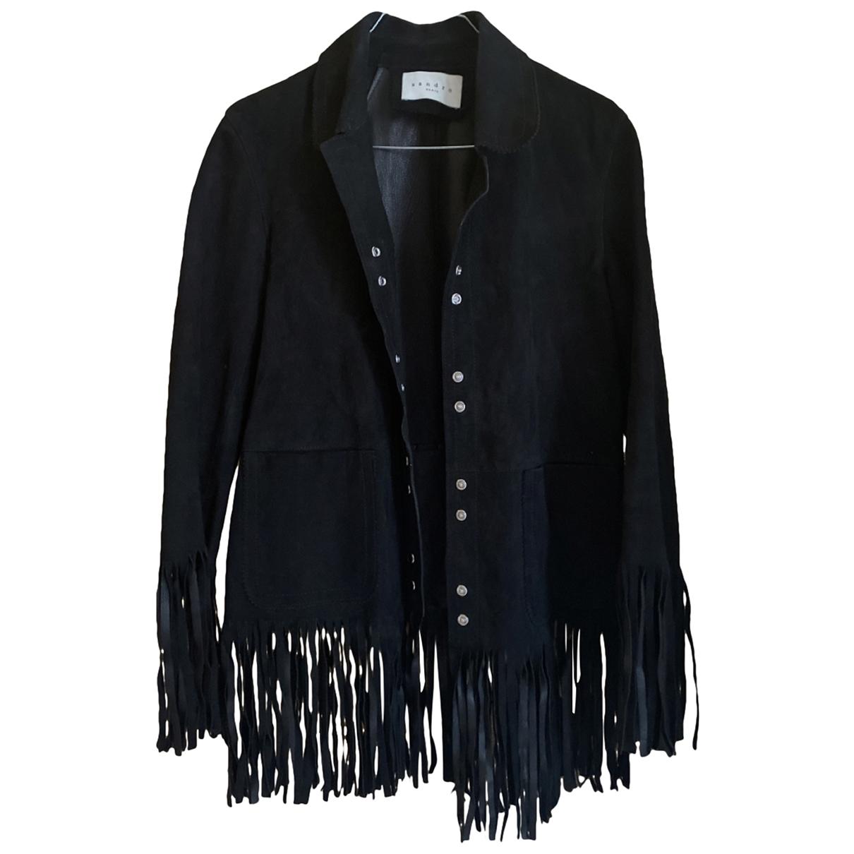 Sandro - Veste   pour femme en cuir - noir