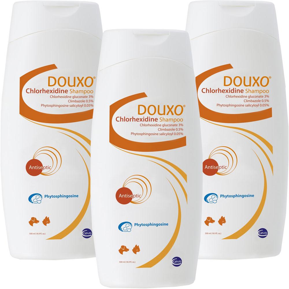 3-PACK DOUXO Chlorhexidine PS + Climbazole Shampoo 500 ml (50.7 oz)