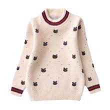 Girls Polka Dot & Cartoon Pattern Fluffy Knit Sweater