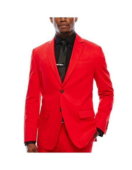 WTX-Velvet2BV Alberto Nardoni Mens Red Velvet Suit Jacket & Pants