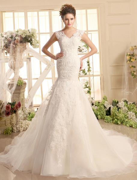 Milanoo Vestidos de novia de encaje con cuello en V sirena vestido de novia Ivory Illusion organza vestido de novia