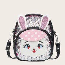 Bolso bandolera de niñas con estampado de conejo con lentejuela