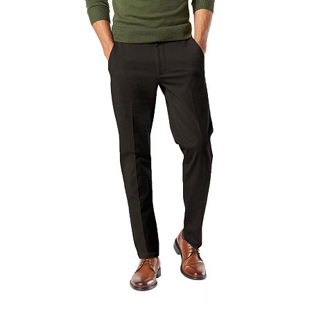 Dockers Men's Slim Fit Workday Khaki Smart 360 Flex Pants D1, 34 30, Black