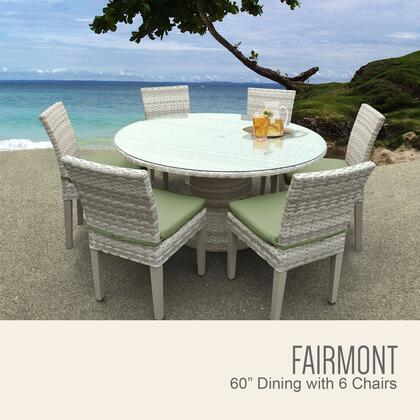 FAIRMONT-60-KIT-6C-CILANTRO Fairmont 60 Inch Outdoor Patio Dining Table with 6 Armless Chairs with 2 Covers: Beige and