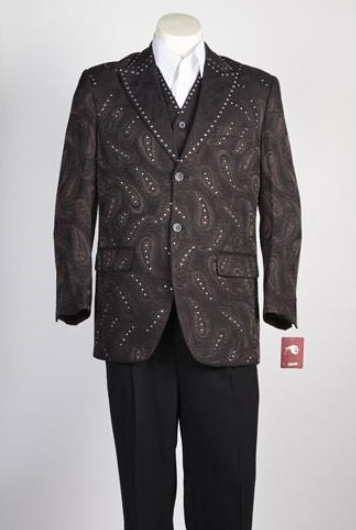 Mens 2 Button Brown Single Breasted Suit