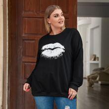 Sweatshirt mit Lippe Muster und sehr tief angesetzter Schulterpartie