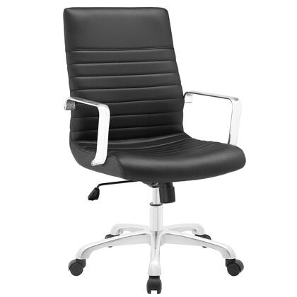 Finesse Collection EEI-1534-BLK Office Chair with 360 Degree Swivel  Mid Backrest  Adjustable Height  Polished Aluminum Frame and Ribbed Vinyl