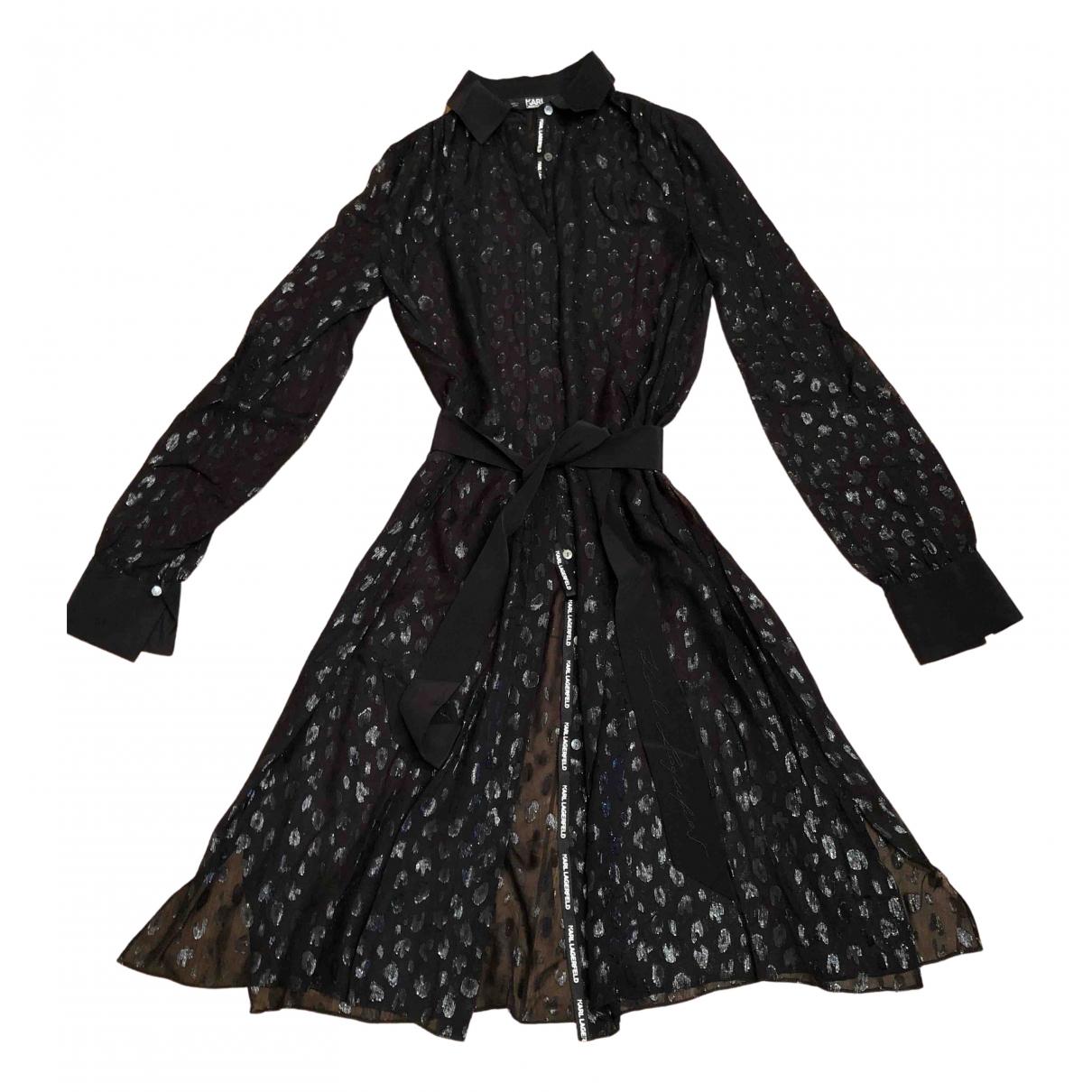 Karl Lagerfeld - Robe   pour femme en soie - noir