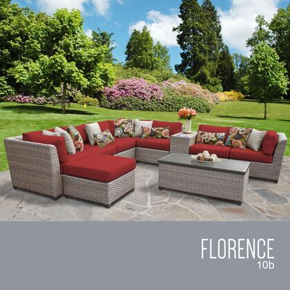 FLORENCE-10b-TERRACOTTA Florence 10 Piece Outdoor Wicker Patio Furniture Set 10b with 2 Covers: Grey and