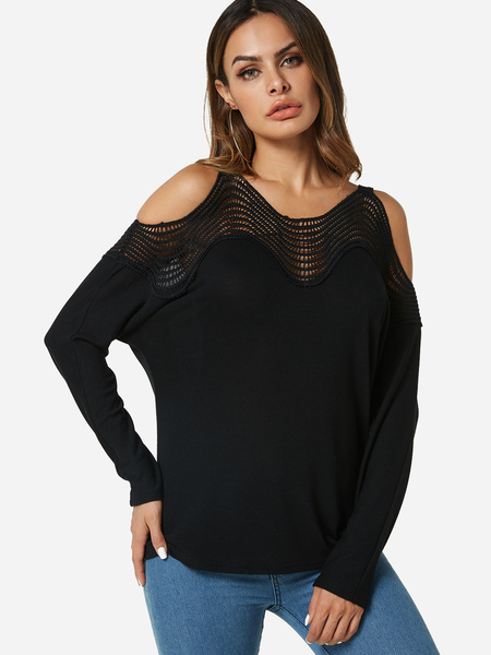 Yoins Black Hollow Cold Shoulder Fashion T-shirt