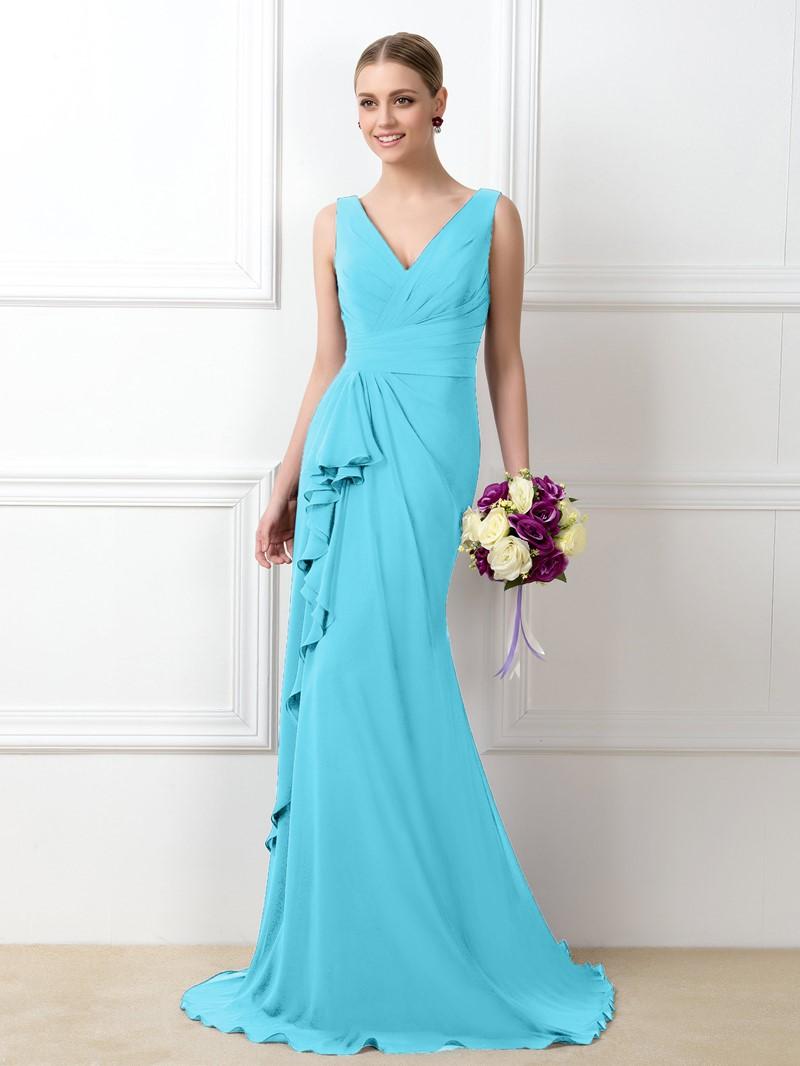 Ericdress V-Neck Ruffles Long Bridesmaid Dress