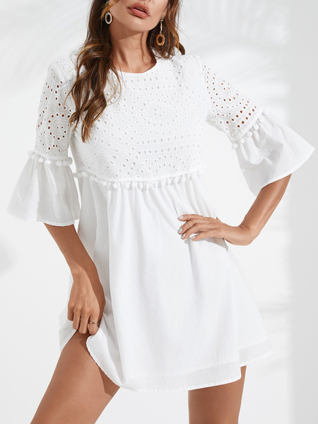 YOINS White Hollow Design Crew Neck Bell Sleeves Dress