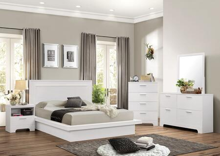 Moderno Collection 5 PC Bedroom Set with King Size Platform Bed + Dresser + Mirror + Chest + Nightstand in White