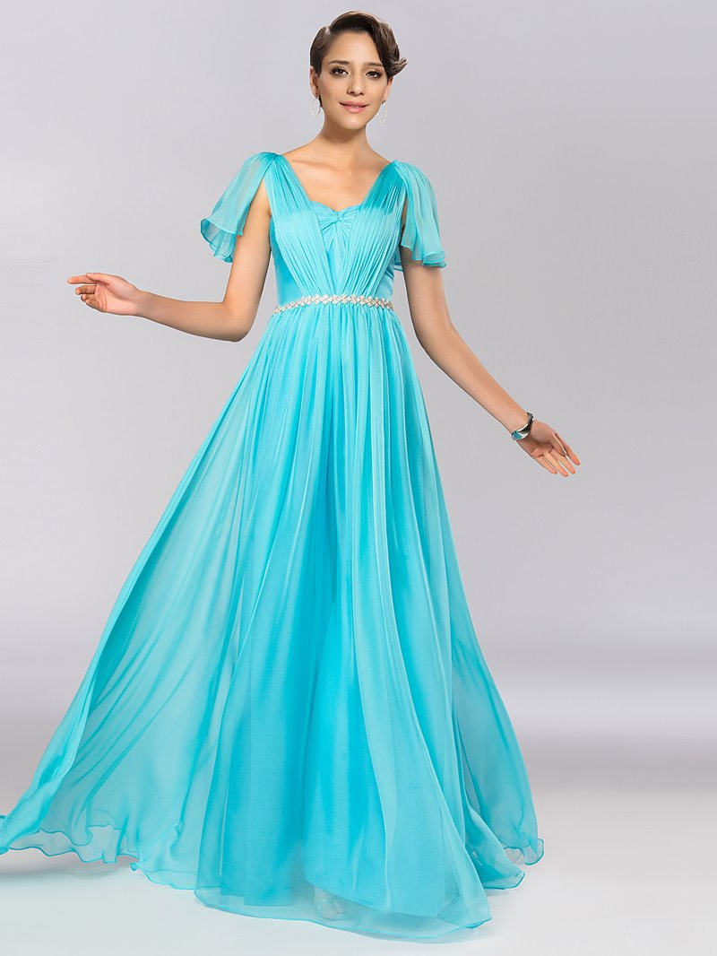 Charming Cap Sleeves A-Line Crystal Ruffles Long Prom Dress