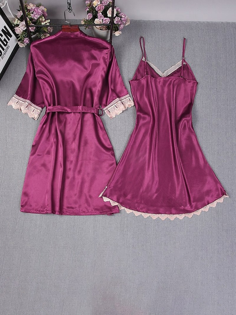 Ericdress Patchwork Cotton Blends Simple Nightgown Pajama Suit