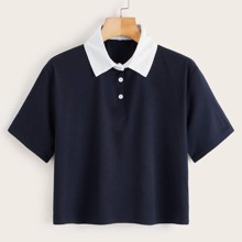 Contrast Collar Crop Polo Shirt