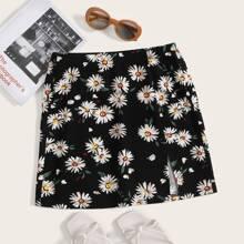 Daisy Print Split Hem Skirt
