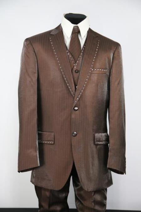 Mens Rhinestone Notch Lapel Flap Pocket Sepia Zoot Suit