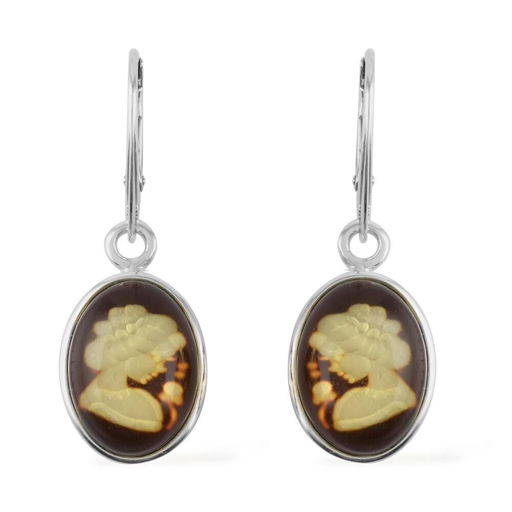 925 Sterling Silver Amber Lever Back Earrings (White - White - Amber)