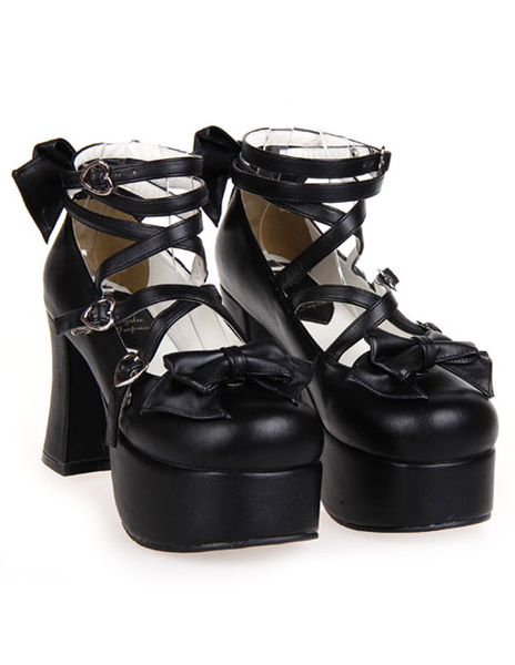 Milanoo Matte Black Lolita Chunky Heels Platform Ankle Straps Bows Buckles