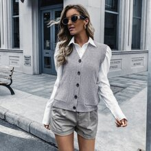 Dual Pockets Button Up Sweater Vest Without Blouse