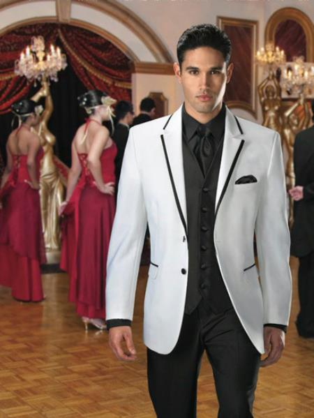2 Button Colored Tuxedo / Formal Suit and Blazer with Black Edge Trim