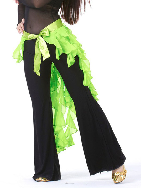 Milanoo Belly Dance Accessories Chiffon Women White Asymmetrical Ruffles Sash