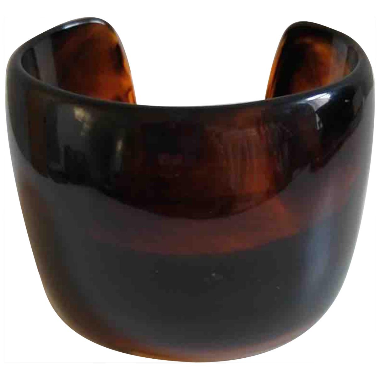 Non Signe / Unsigned Manchette Armband in  Braun Kunststoff