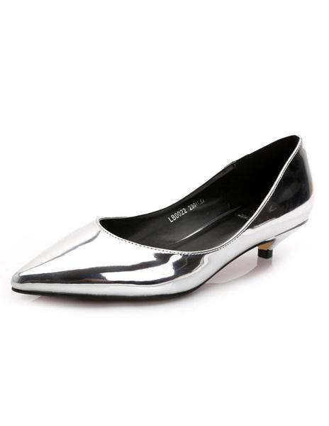 Milanoo Womens Low Heel Patent Pumps Pointed Toe Kitten Heel Shoes
