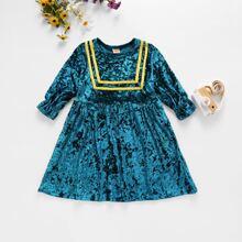 Toddler Girls Stripe Tape Flannel Dress