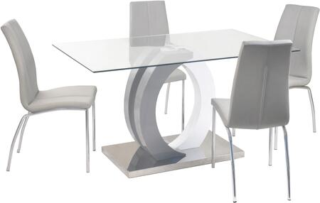 BECKY-5PC Contemporary Dining Set with Glass Table  Wood & Steel Pedestal and 4 Chairs with 2 Tone Curved Wooden