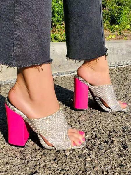 Milanoo High Heel Mules Silver Open Toe Blcok Heel Slide Shoes