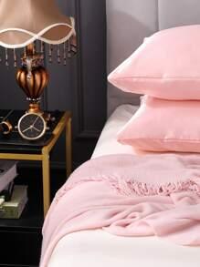 Funda de almohada de saten unicolor 1 par