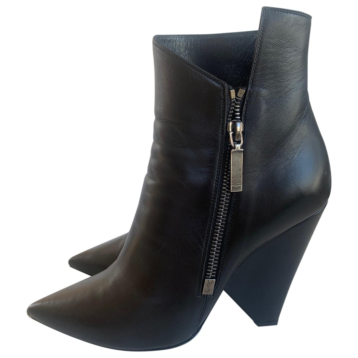 Saint Laurent \N Black Leather Ankle boots for Women 38 EU