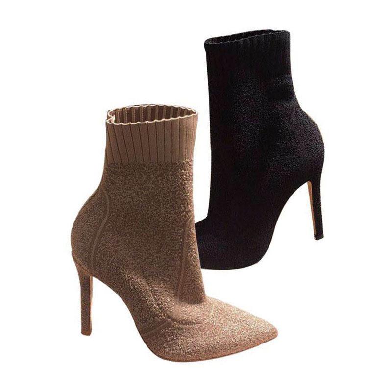 Ericdress Plain Stiletto Heel Pointed Toe Slip-On Women's Ankle Boots