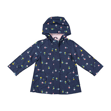 Carters Baby Girls Hooded Water Resistant Lightweight Raincoat, 12 Months , Blue
