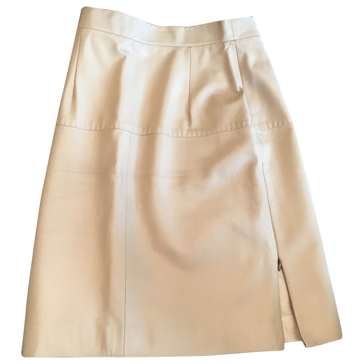 Non Signé / Unsigned \N Beige Leather skirt for Women 36 FR