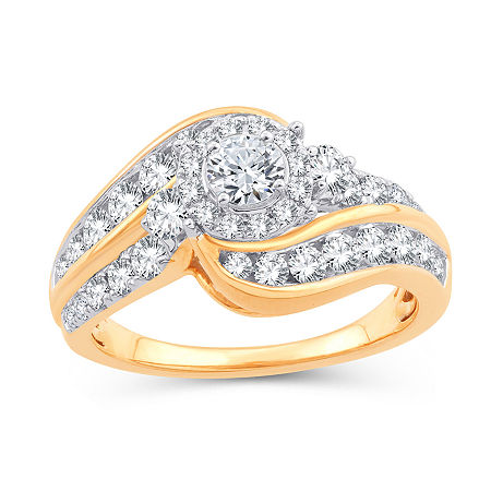 Womens 1 1/2 CT. T.W. Genuine White Diamond 10K Gold Engagement Ring, 6 , No Color Family