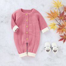Baby Girl Button Front Cable Knit Jumpsuit