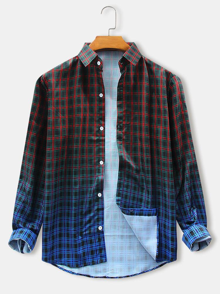 Mens Tartan Check & Ombre Print Daily Design Fit Long Sleeve Shirts